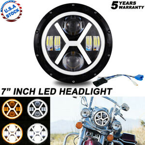 "DOT 7"" inch Motorcycle Headlight Round CREE LED Projector For Harley Cafe Racer"