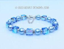 m/w Swarovski Crystal Blue Pearls + Aurora Borealis Bracelet Lilli Heart Designs