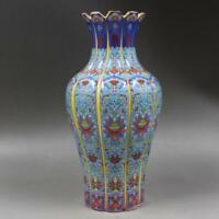 Rare China old porcelain hand painting Qing yongzheng colour enamels flower vase