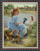 "Hand painted Original Oil painting art Impressionism girl cock on Canvas 30""X40"""