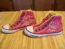 Ed Hardy Pink/Yellow Canvas High Top Sneakers; Snap Closure Girls' Sz 1(Euro 32)