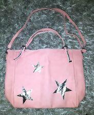 Ladies Womens Girls Dusty Pink Silver Stars Large Weekender School Shopping Bag