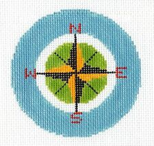 "LEE Travel Compass Rose handpainted Needlepoint Canvas 3"" Rd. Ornament or Insert"