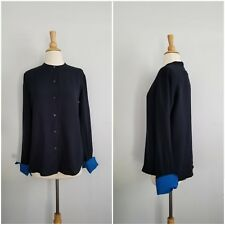 Bird by Juicy Couture true navy jean 100% silk black n blue shirt blouse  M $360