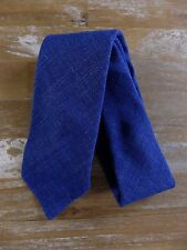 auth DRAKE'S Drakes of London blue self-tipped wool silk linen tie - NWOT