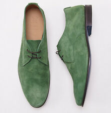 New $980 SUTOR MANTELLASSI Leaf Green Calf Suede Laceup Derby US 11 D Shoes