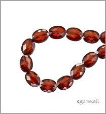 8 CZ Flat Oval Beads 6x8mm Dark Garnet #64493