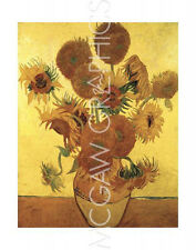 "VAN GOGH VINCENT - SUNFLOWERS ON GOLD, 1888 - ART PRINT POSTER 14"" X 11"" (208)"