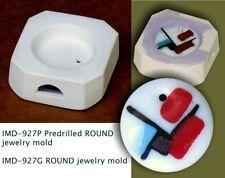 IMD-927P PREDRILLED JEWELRY BLANK ROUND GLASS FUSING pod mold