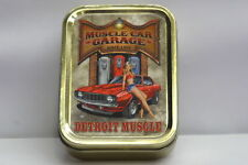American Muscle Car Garage, 70s Pinup Girl Cigarette Tobacco Storage 2oz Tin