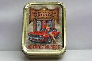 American Muscle Car Garage, 70s Pinup Girl Cigarette Tobacco Storage 2oz Tin