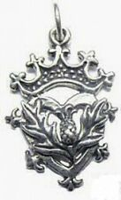 LOOK Celtic Scottish Irish Thistle Charm pendant Sterling silver 925 Crown Jewel
