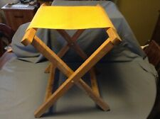 Vintage Folding Stool Fishing Camp Chair Retro Canvas, Wood Oak Trace Industries