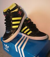Adidas Black And Yellow High-top Trainers Wirh A Hidden Wedge Size 5.5 UK