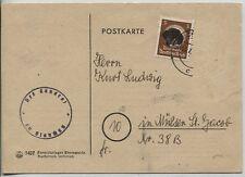 AP 132 I EF auf Dienst-Postkarte von Glauchau nach Mülsen St.J. Rarität (B06983)