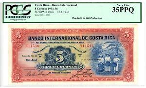 Costa Rica ... P-180a ... 5 Colones .. 16.Enero 1936 .. *Ch VF-XF*.. PCGS 35 PPQ