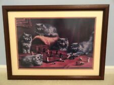 "Double Matted Framed Cat with Chess Set Print Shabby Victorian Cottage  21""x 28"""