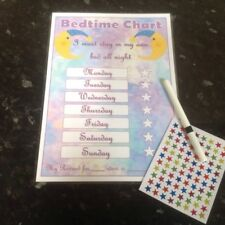 bedtime sleep in own bed themed reward chart kids reward chart pink