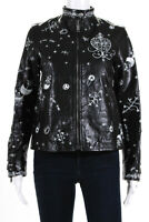 Valentino Womens Zodiac 2016 Printed Biker Jacket Black White Leather Size IT 40