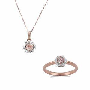 Gemondo 9ct Rose Gold Morganite & Diamond Floral 45cm Necklace & Ring Set