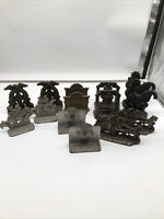 VINTAGE 14 Lot Bookends, Liberty Bell, Rooster, Galleon Carriage, Indian Chief