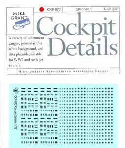 Mike Grant Decals 1/72 COCKPIT DETAILS Instrument Gauges & Data Placards