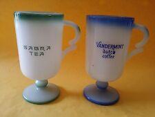 Vintage Vandermint Dutch Coffee Blue Milk Glass Cup Sabra Tea Israel Mug Green