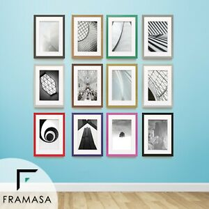 Black Picture Frame White  Photo Frames Poster Frames Rainbow12 With White Mount