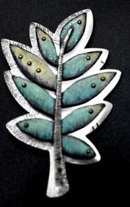 DEB KARASH Sterling Silver 925 Colored Pencil 3-D Branch Leaf Brooch Pendant