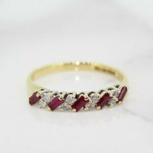 18ct Yellow Gold Ruby and Diamond Eternity Ring (Size N 1/2, US 7)