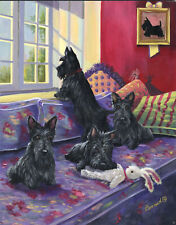 """Precious Pets Garden Flag - Scotties on a Daybed 12"""" x 18"""" ~ Charity!!"""