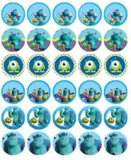 """MONSTERS UNIVERSITY 30 1.5"""" ROUND (35mm) EDIBLE WAFER PAPER CUPCAKE TOPPER #1"""