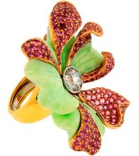 Carvin French CHRYSOPHRASE DIAMOND PINK SAPPHIRE YELLOW GOLD EXOTIC FLOWER RING