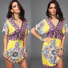 D423yellow Plus SZ XXL Women V-Neck print Loose Summer's Sexy Bohemia Dress