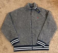 NEW Polo Ralph Lauren Men's Grey Vintage Sherpa Raglan Full Zip Sweater Jacket