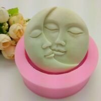 *Sun Moon Faces Round Silicone Soap Molds Craft DIY Handmade Cake Candle Mould