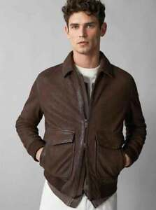 Mens Brown Bomber Real Suede Leather Jacket