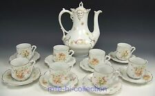 18 PIECES HERMANN OHME SILESIA FLOWER BUTTERFLIES TEA COFFEE CUPS & SAUCERS SET