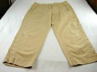 ZENERGY By CHICO'S Beige Zip Fly Crop Capri PANTS Sz 0.5 [30in waist 24in L]