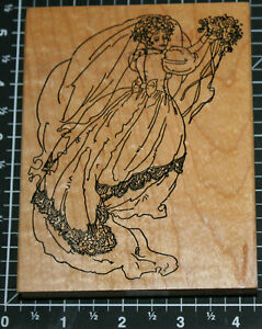 Stamps Happen VICTORIAN BRIDE BOUQUET 80033 Wedding Wood Mounted Rubber Stamp
