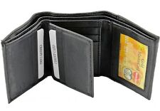 New Men's Genuine Leather Trifold Wallet ID Flap Window Credit Card Case Holder