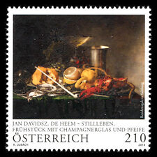 "Austria 2018 -  Paintings ""Still-Life Breakfast with Champagne Glass"" Art - MNH"
