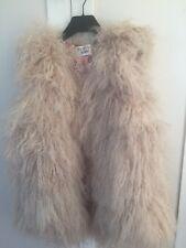 New Women Beige 100% Genuine Mongolian Fur Vest Fits Size S M
