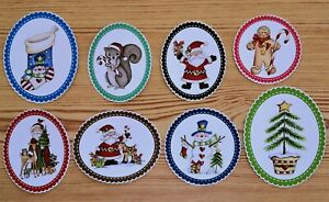 Primitive Christmas Glossy Card Making Toppers - 8 Scalloped Edge Die Cuts