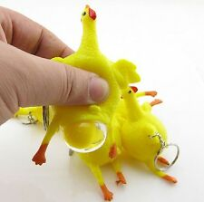 9cm Chicken And Egg Rubber Keyring Animal Joke Stress Toy Stocking Party Filler