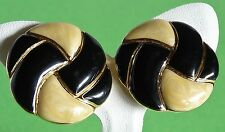 Vintage Trifari Clip Earring Round Black and Cream Pearlised Enamel Exc Cond 46