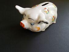 VINTAGE RARE PIG MONEY BOX PETI POINT FLOWER DESIGN ROYAL ALBERT? PIGGY BANK