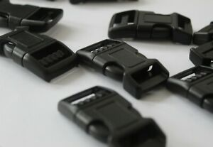 10 Black Plastic 20mm Curved Side Quick Release Buckles