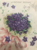 Vintage Birthday Card Purple Violets Norcross Glitter Pastel Parchment Paper