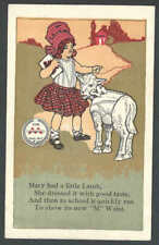 Ca 1926 PPC*Mary Had A Little Lamb Poem W/Ad For M Waist Mint